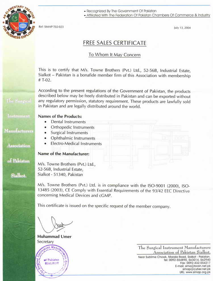T o w n e brothers pvt ltd manufacturer of surgical dental free sales certificate of surgical instruments manufacturers association of pakistan jpeg format yadclub Gallery