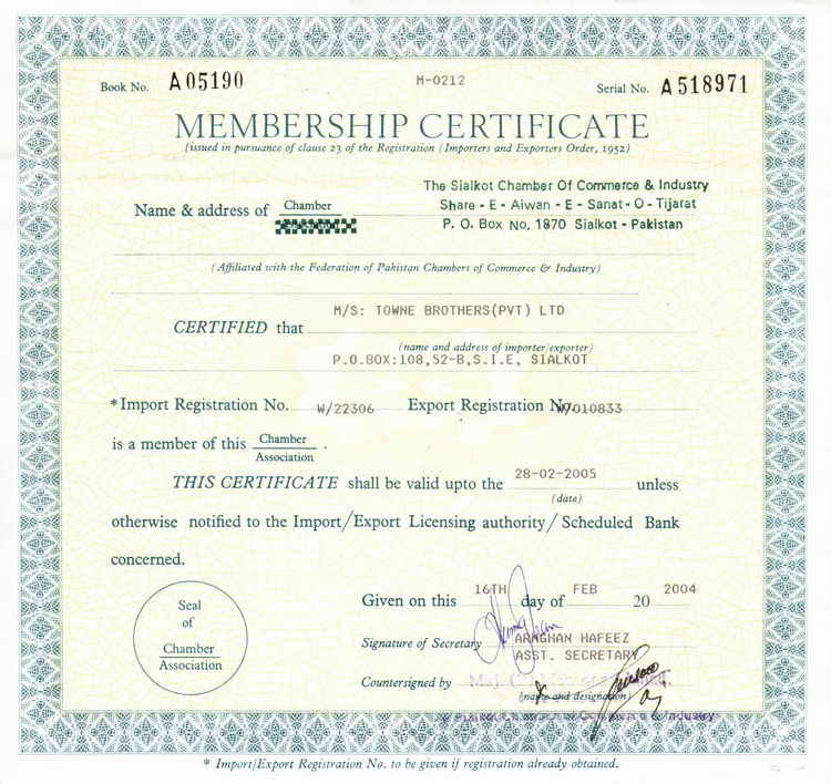 T o w n e brothers pvt ltd manufacturer of surgical dental membership certificate of sialkot chamber of commerce industry jpeg format free sale yadclub Gallery